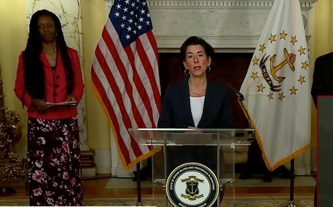 Gov. Gina Raimondo talks about a new executive order that authorizes fines for those not following the state's isolation or home quarantine directives.