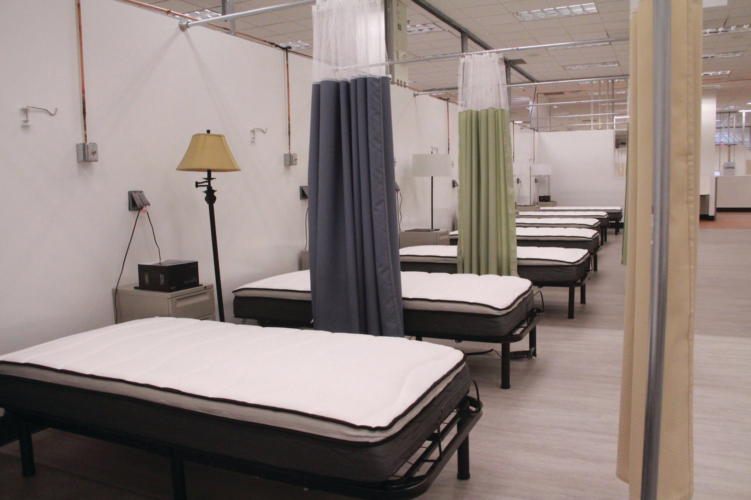 READY FOR PATIENTS: The Cranston field hospital has three wards made up of pods like this, with 18 to 24 beds each.