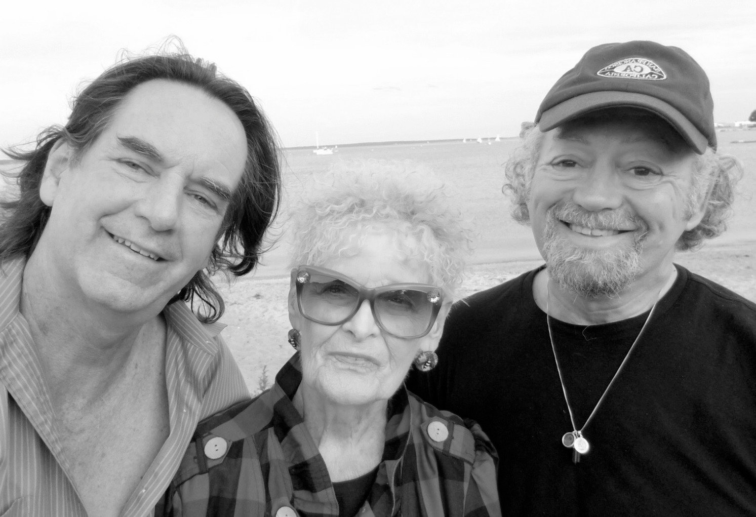 PLAYING A CENTER ROLE: Gloria Walker is pictured with Brian Belovich, at right, and his husband Jim Russellas pictured in Wickford when Brian and Jim visited last summer.