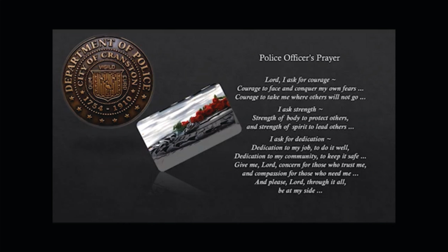 A PRAYER: The virtual ceremony includes the words of the Police Officer's
