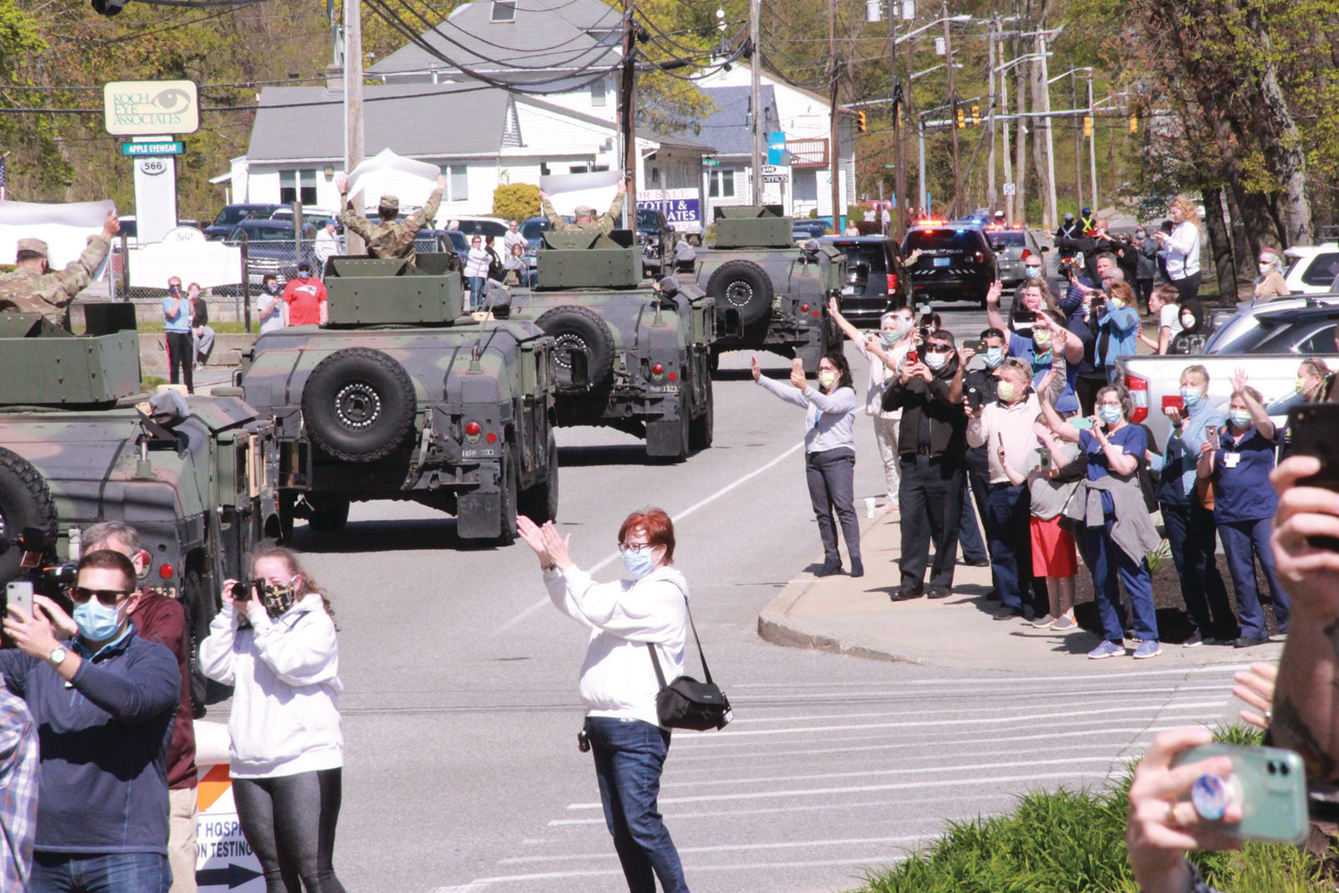 THE REAL HEROES:The National Guard paraded past Kent Hospital in a show of appreciation for the heroes – both caregivers and patients – fighting the coronavirus.