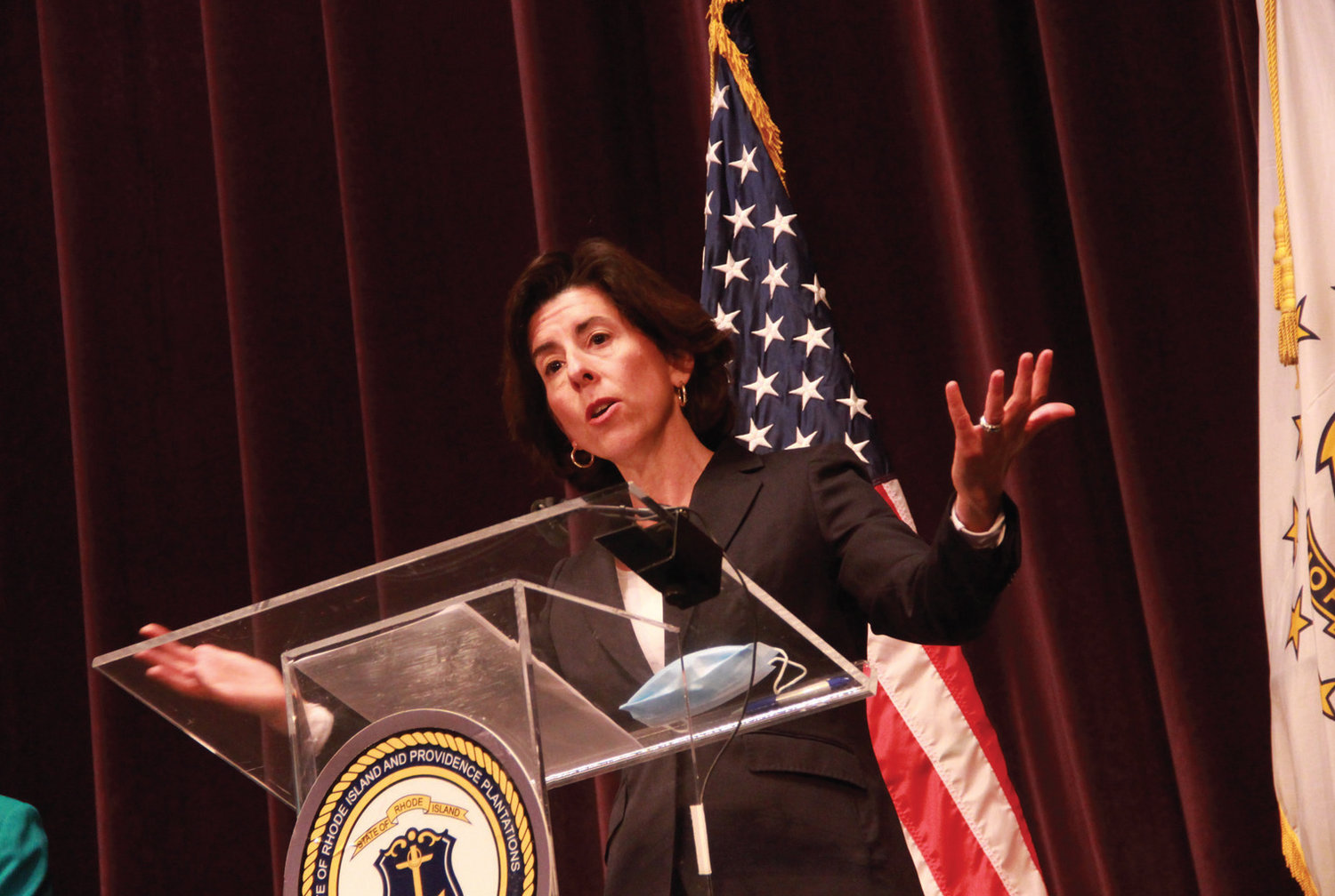 GOVERNOR'S MESSAGE: Gov. Gina Raimondo speaks during Monday's COVID-19 briefing at The Vets in Providence.