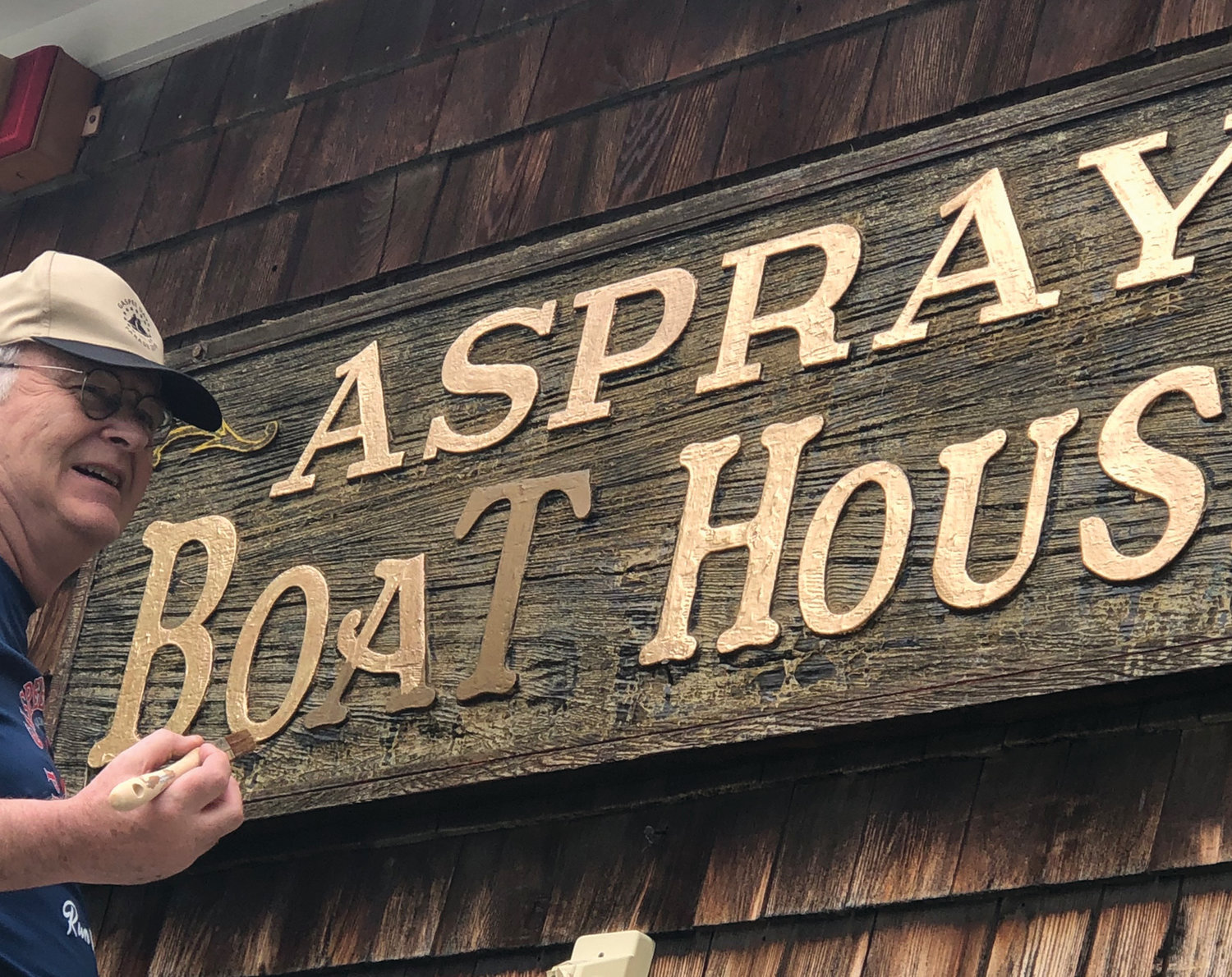 A pandemic couldn't stop John Concannon, former president of the Gaspee Days Committee, from his annual Memorial Day ritual of brightening up the Aspray Boat House sign. As Erin Flynn, who sent us this picture, pointed out, the Gaspee Days Committee is staying busy even though its celebrations planned for this year had to be canceled.