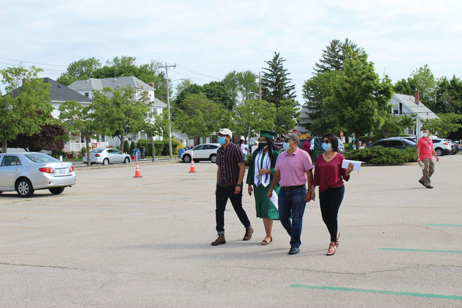 WELCOME BACK: Families arrived on campus beginning on June 3, under sunny skies and greeted by staff from the Cranston Public Schools. All graduates and attendees were required to follow all health and safety protocols for COVID-19.