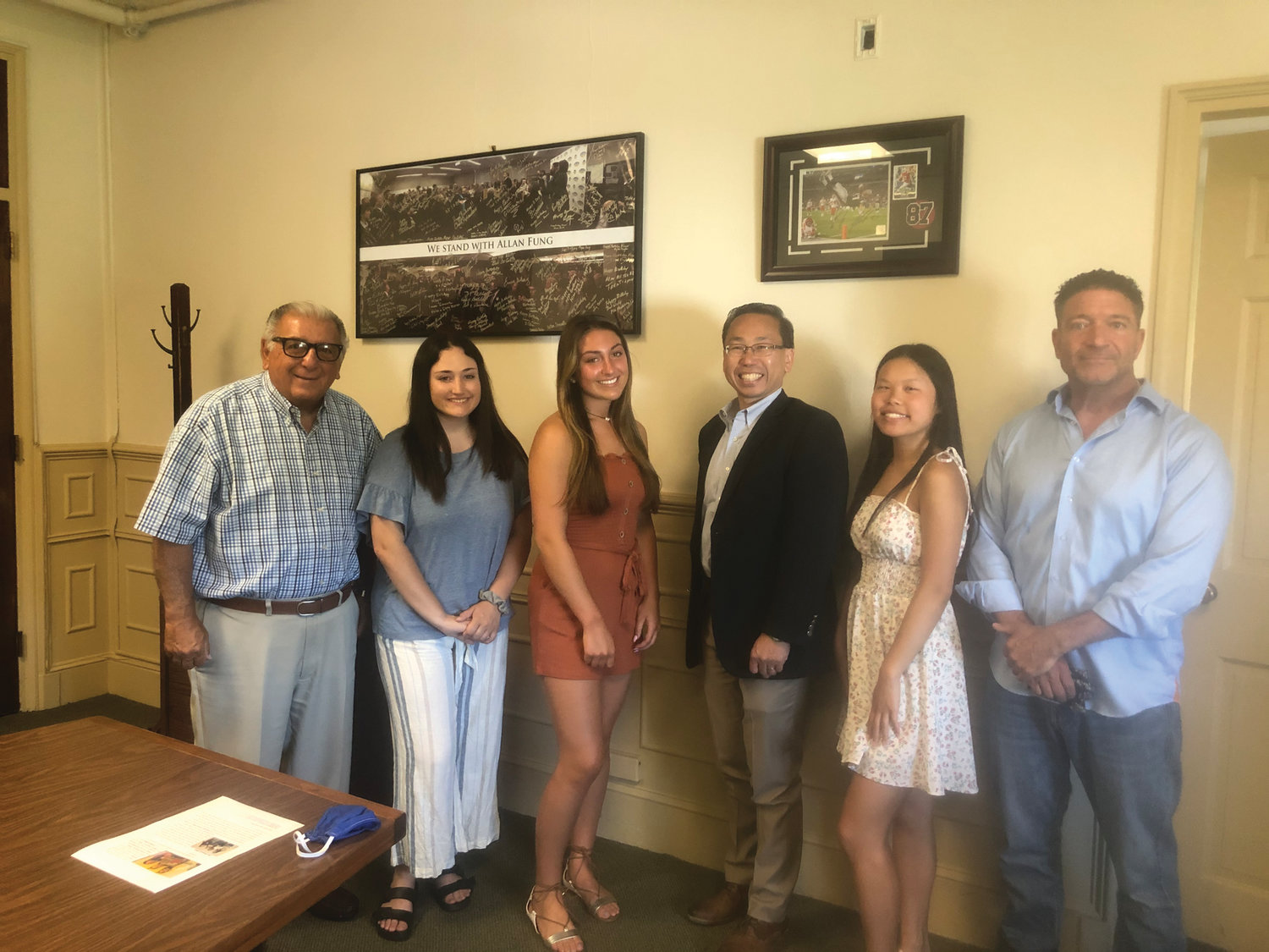 TOP TEAM: Jordan Simpson, Emma Hanley and Ava Santamaria recently met with Mayor Allan Fung and School Committee members Michael Traficante and Vincent Turchetta to be honored for their team's fundraising success.
