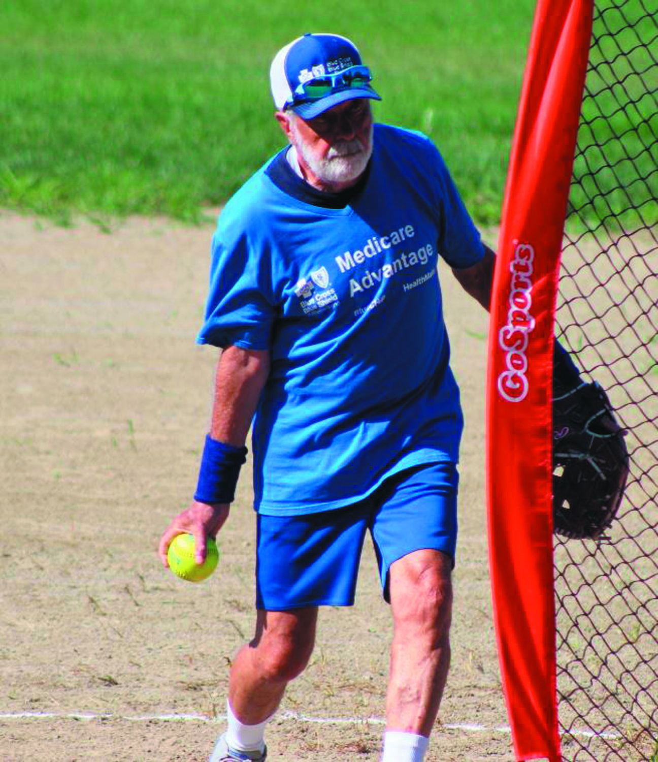 TOE THE RUBBER: Paul Danesi, a longtime Bishop Hendricken administrator and member of the RI Senior Softball