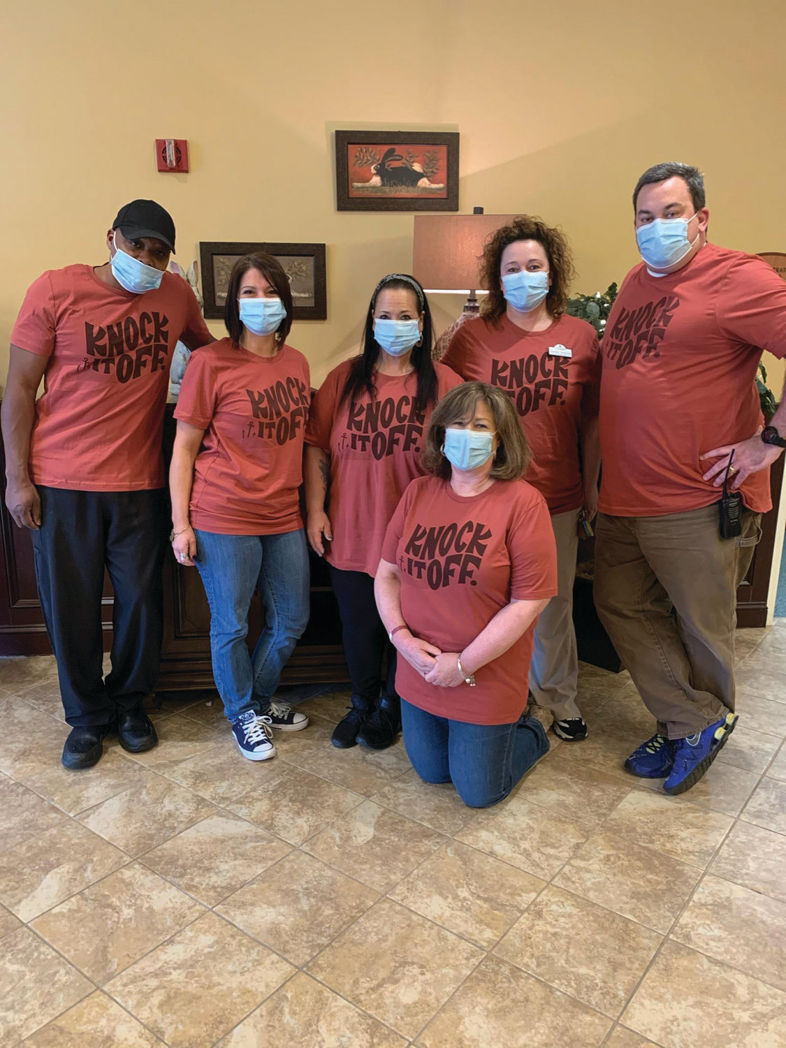 GRACE'S GREAT GANG: Maryann Grace, executive director at The Bridge at Cherry Hill, is backed by staffers Marvin Carter, Jen Burns, Carla Rasposo, Rhonda Simmons and Rick Bigelli who are proud of their accomplishment of keeping residents free from coronavirus during the current pandemic.