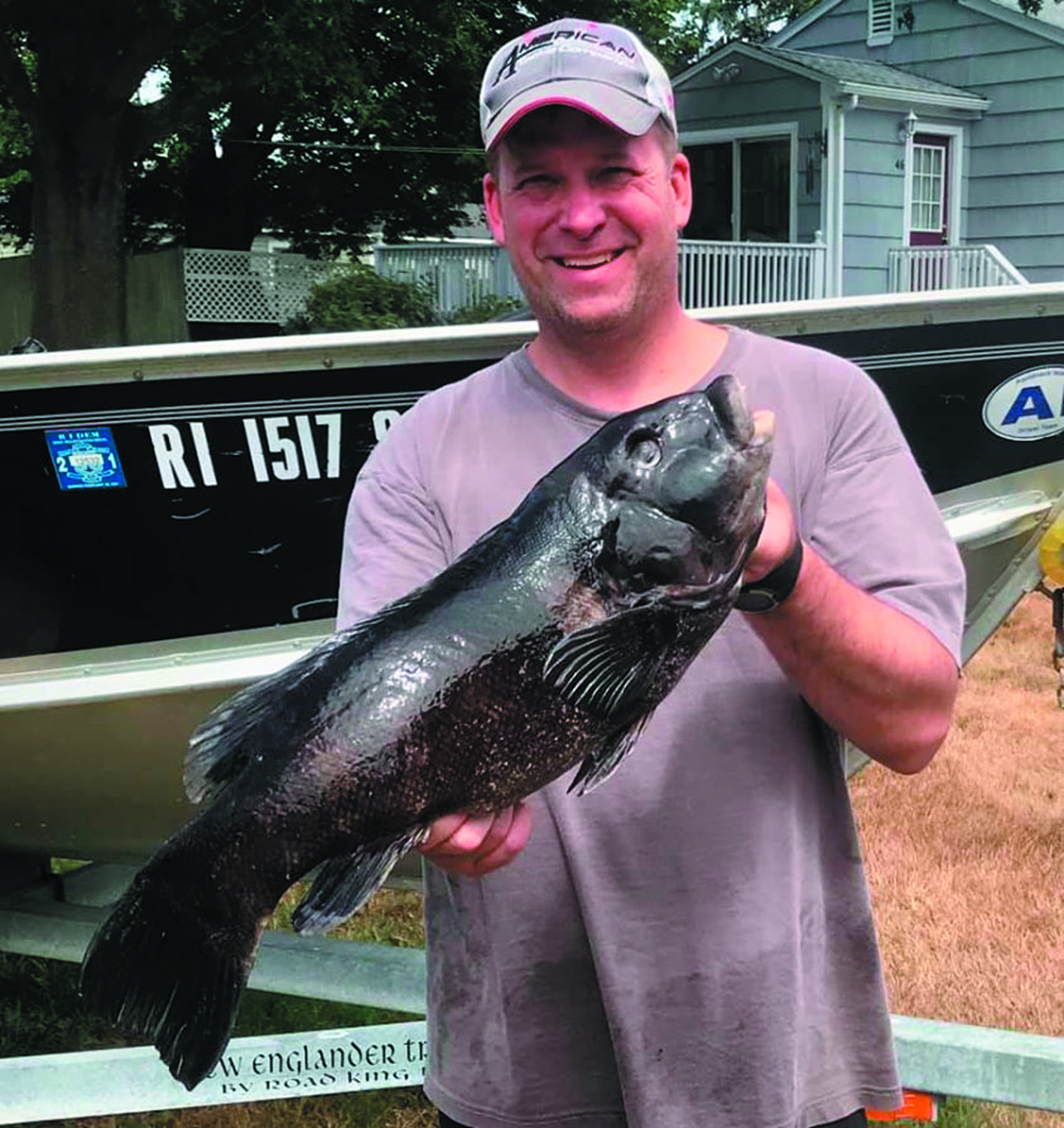 TAUTOG BITE: Ted Zack of Aquidneck Island Rod Builders with the 24-inch tautog he caught this weekend. The tautog season opened August 1 with a 16-inch, three fish/person/day limit. Ten fish per boat.