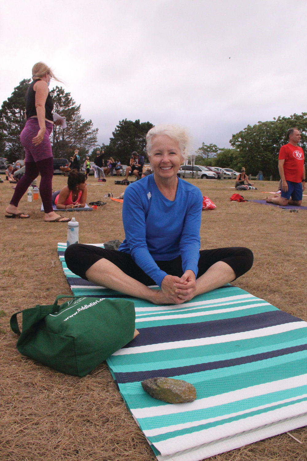 DISCOVERING YOGA AT CONIMICUT: Diane Crosby was a first time participant of Yoga at The Point.