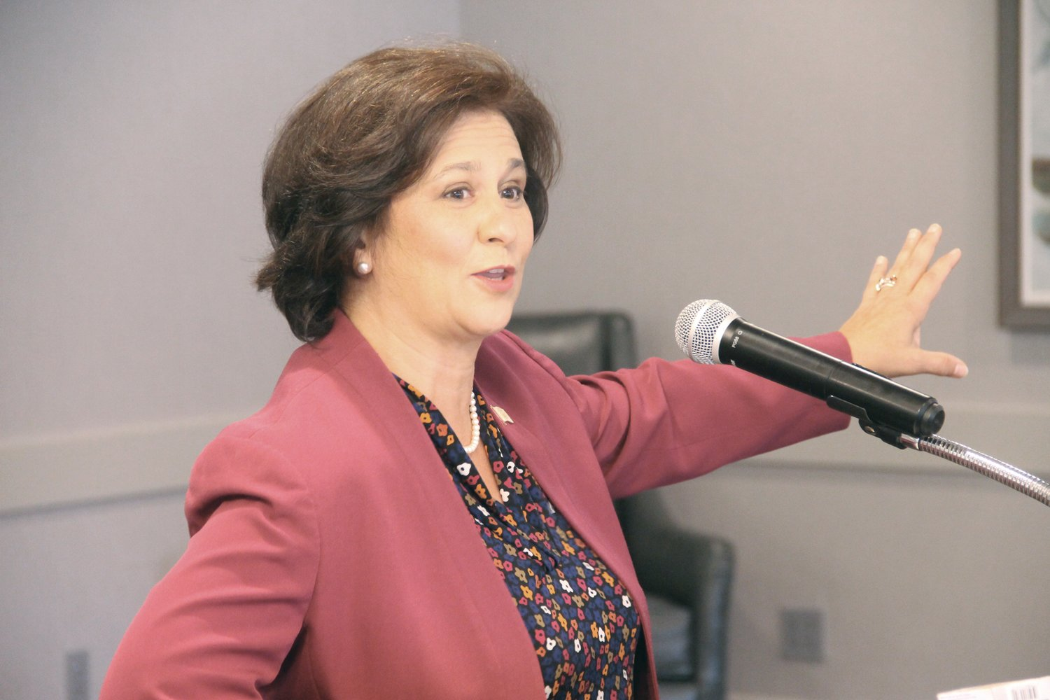 VOTING DURING A PANDEMIC: Secretary of State Nellie Gorbea outlined how her office is promoting mail ballots and early voting as alternatives to visiting the polls on election day during a meeting of the Warwick Rotary Club last Thursday.