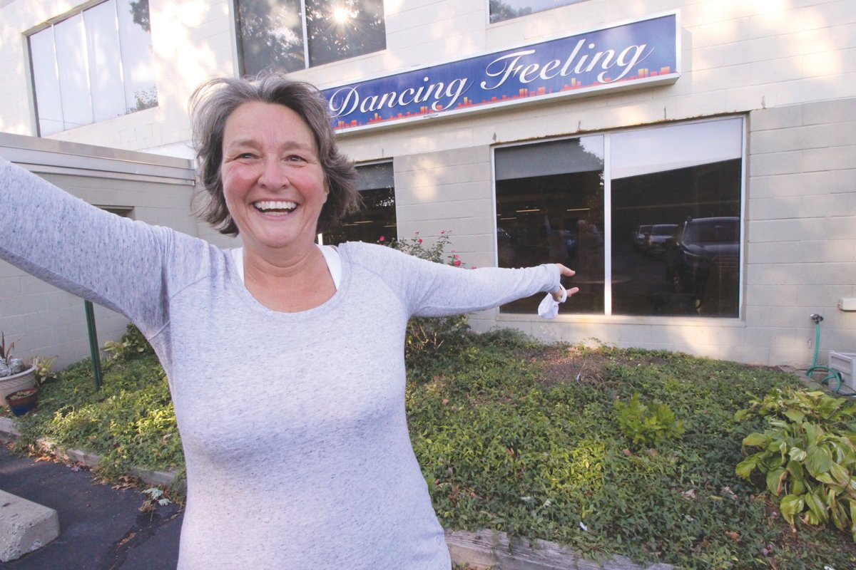 SHOUTING THEIR PRAISE: Jo-Ann Schofield removed her mask to praise The Dancing Feeling, whose instructors work with celebrities competing in Dancing with the Stars of Mentoring.