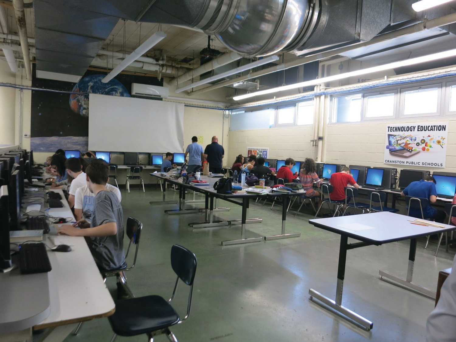 OUR CURRENT COMPUTER LAB:  A basement room currently houses the computer lab at Park View. The modernization of this space is in the proposed plans for Park View.