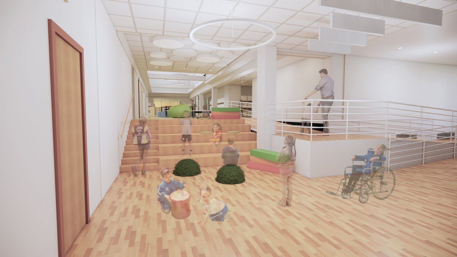 ARTIST'S RENDERING: A digital image shows what one of the gathering spaces could look like, including accessibility options for all students.