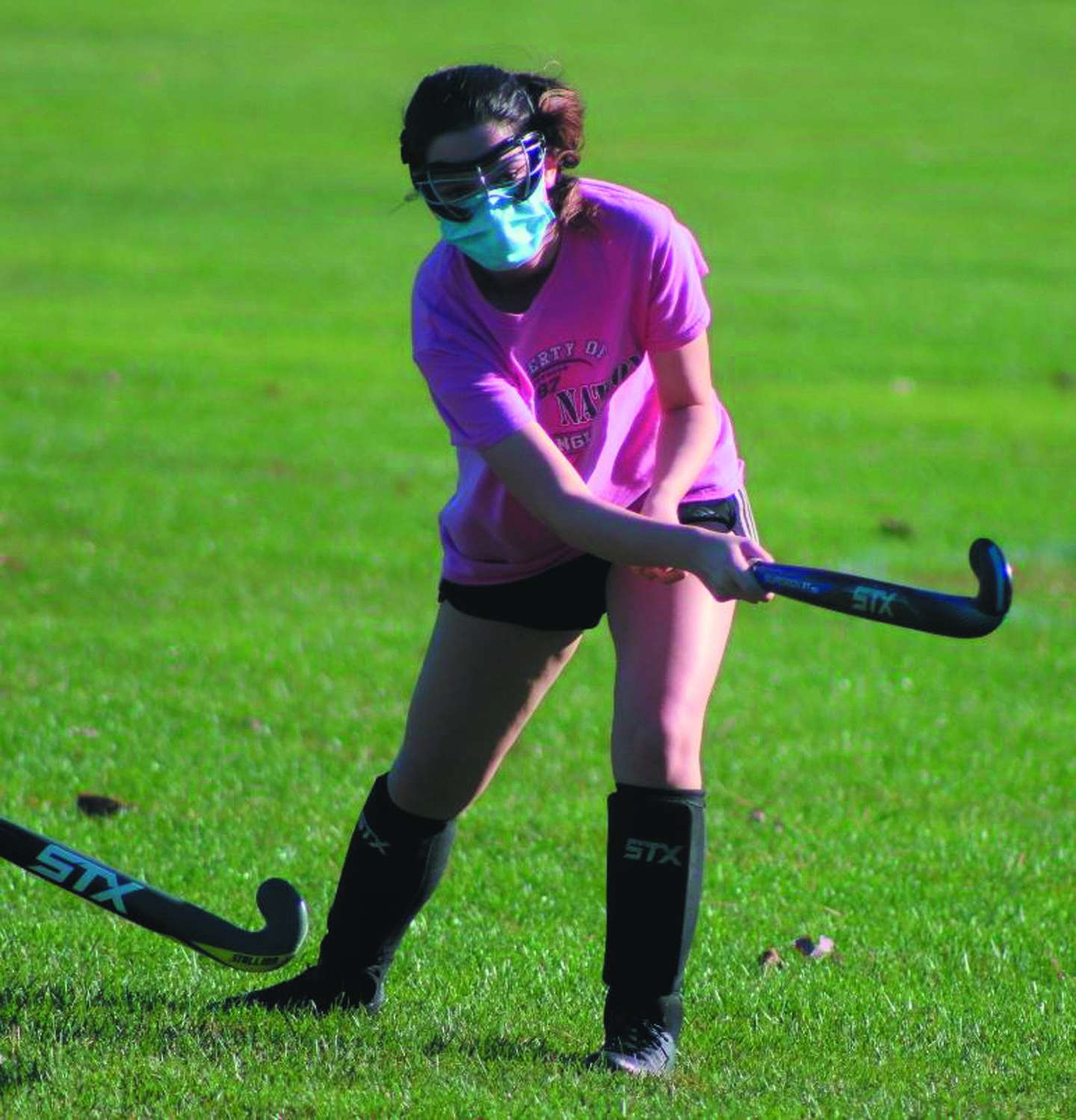 FIRE AWAY: Pilgrim's Madison Mello takes a shot at practice last week prior to the team's season opener.