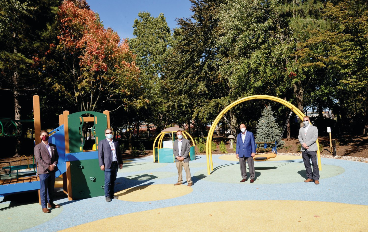 THE BUILDERS: Hasbro Children's Hospital marked a milestone in its ongoing renovations with the completion of the new Balise Healing Garden and a reimagined playground. Construction of the garden and playground were led by Cranston-based Pariseault Builders. Members of the Pariseault Builders team include, from left, Brian Casey, president; Caleb Messier, senior project manager; Dan Buttner, project manager; Tom Rezendes, senior vice president; and Kyle Lloyd, vice president.