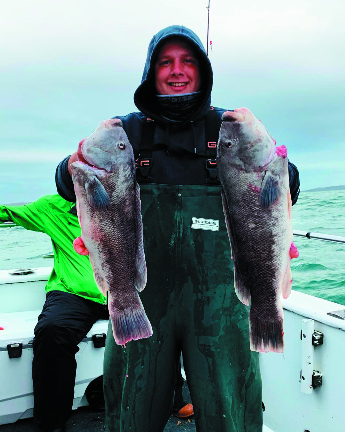 BIG TAUTOG BITE: Bobby Bisset of Narragansett with tautog he caught while fishing on a Frances Fleet boat out of Pt. Judith, RI last week.