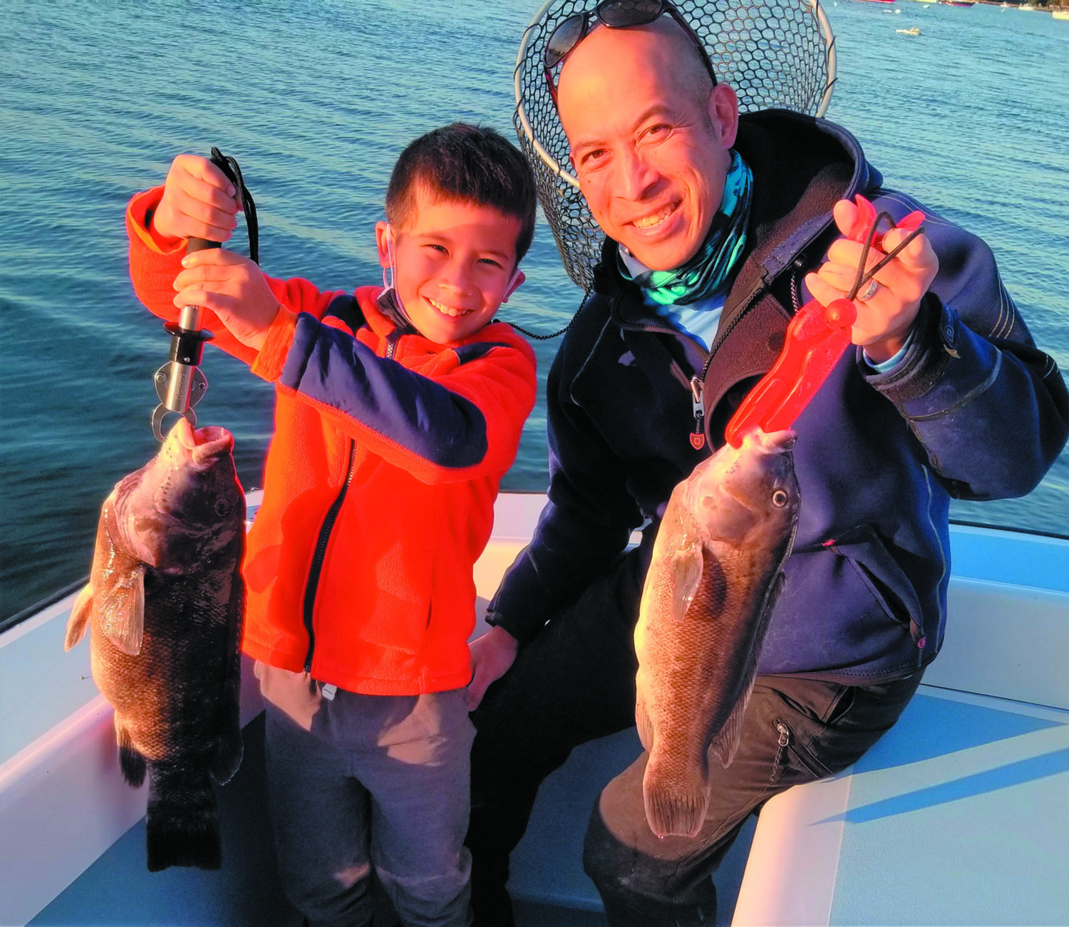 PERSONAL BEST: Xavier Wong with his personal best eight pound tautog that he caught off Newport this week. He and his father Jamie limited out with ten fish in about 3.5 hours of fishing.