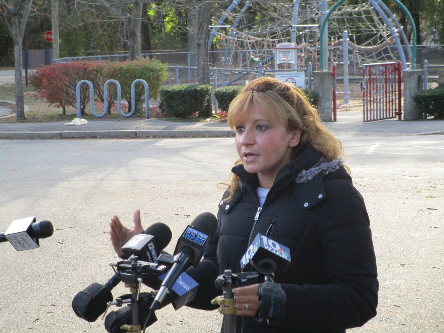 MAKINGWAVES: Barbara Ann Fenton-Fung speaks with members of the media at Brayton Park on Nov. 4, the night after the Associated Press declared her the victor in her District 15 challenge to Speaker Nicholas Mattiello.