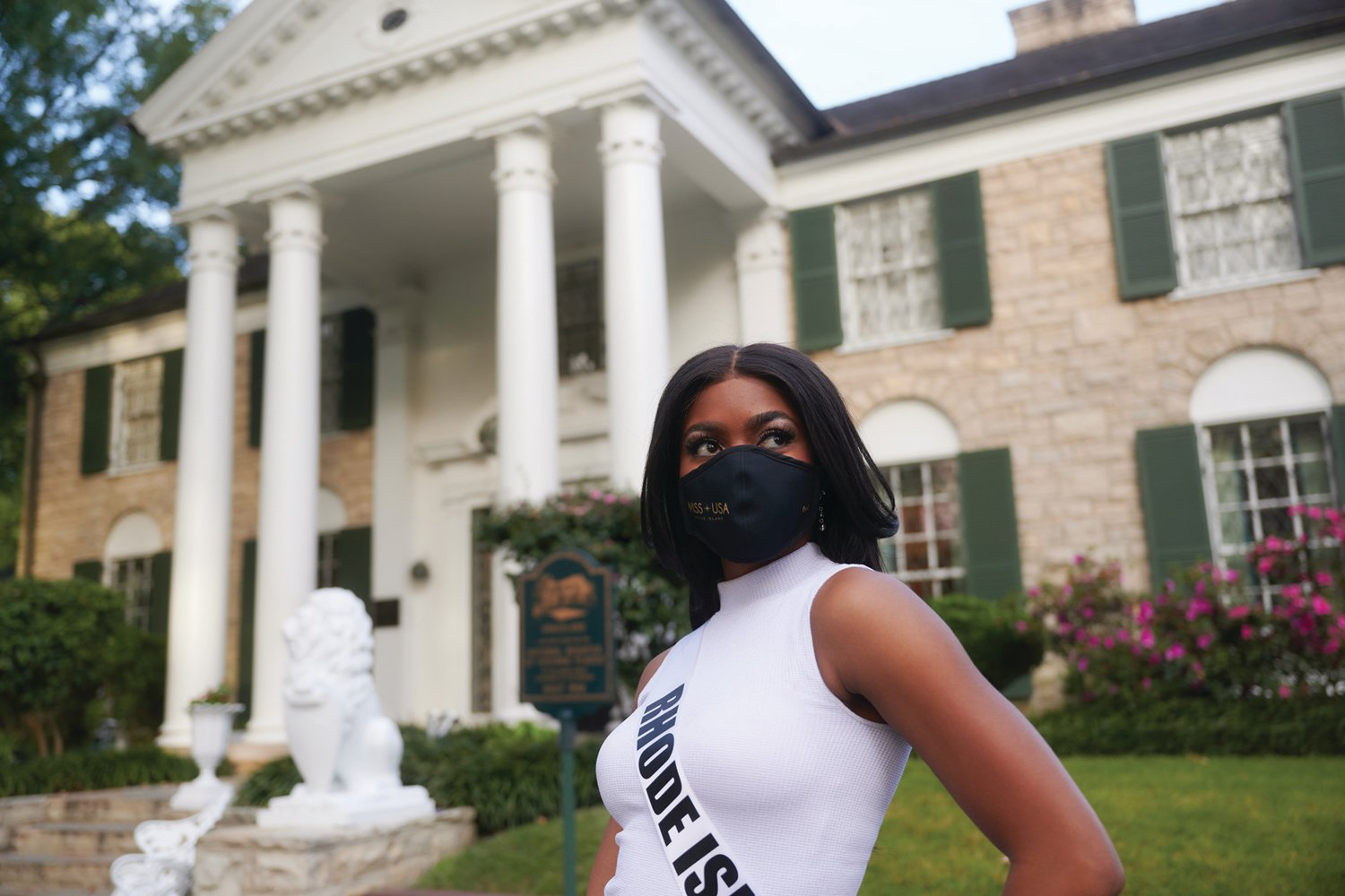 Jonet Nichelle, Miss Rhode Island USA 2020, during a socially distant, COVID-compliant shoot at Graceland in Memphis, Tennessee on Wednesday, November 4. The Miss USA contestants are filming, rehearsing and preparing to compete for the Miss USA crown at iconic Graceland. Tune in to the 2020 MISS USA® Competition at 8pm EST on November 9, live on FYI from Graceland to see who will become the next Miss USA. HO/ The Miss Universe Organization.