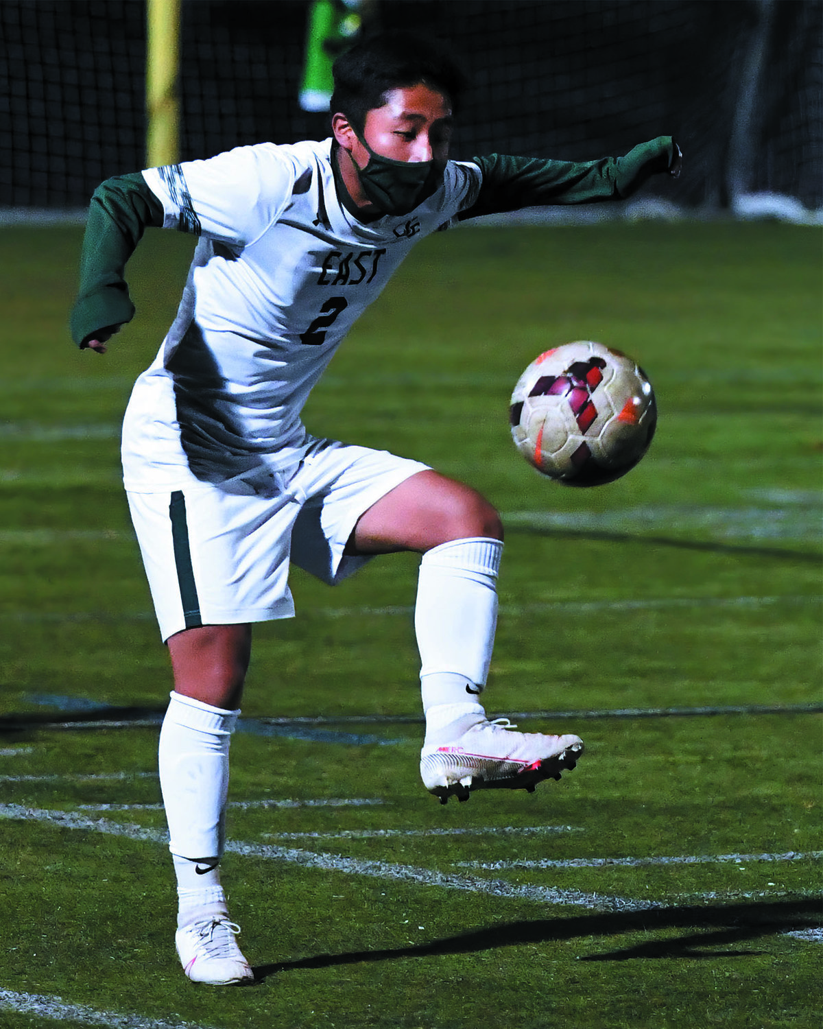PLAYOFF SOCCER: Cranston East's Michael Lopez juggles the ball in the Division II Quarterfinals against East Greenwich on Monday night. The Thunderbolts fell to the Avengers 3-0. East finished the season with a 4-1-4 league record. Meanwhile, the Cranston West squad also fell in its quarterfinals matchup against Westerly, 4-3.