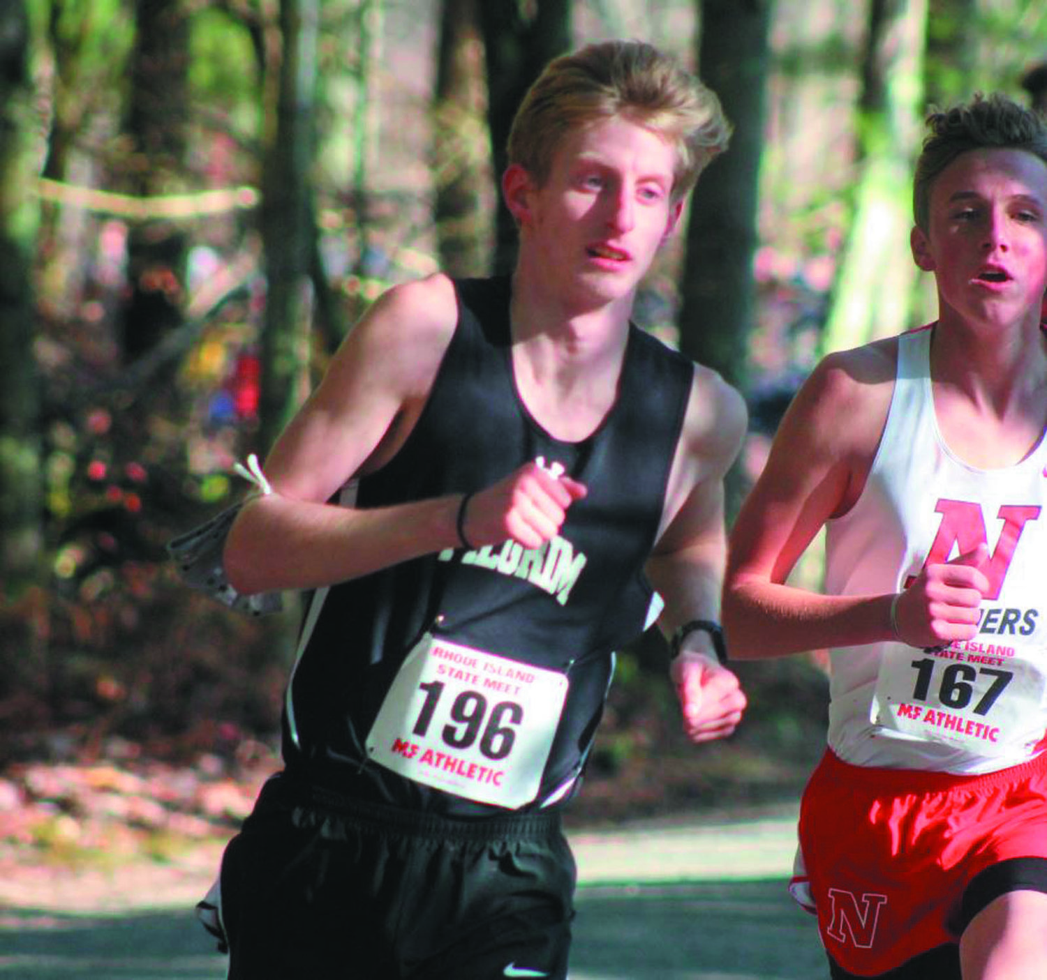 STRONG FINISH: Pilgrim's Justin Dorsey (left) who led the Patriot boys