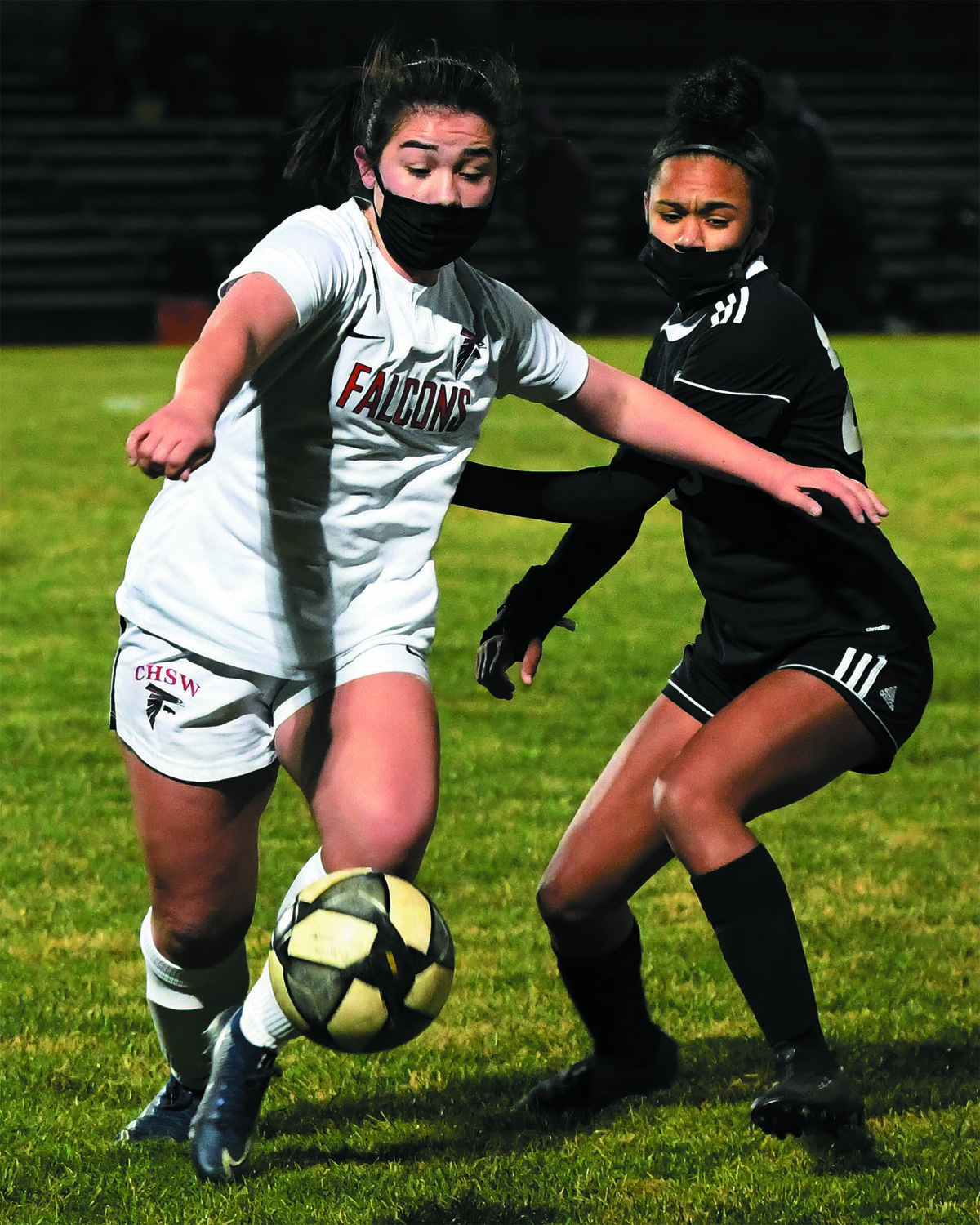 UP THE FIELD: Cranston West's Ariana Torres battles for the ball in the quarterfinals