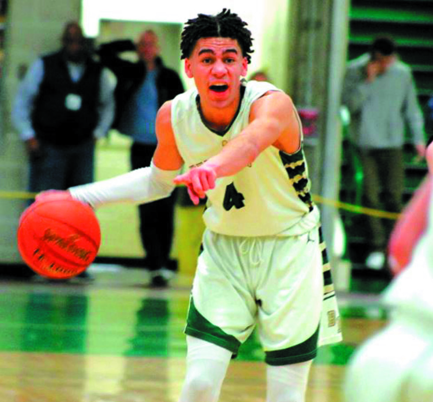 HITTING THE COURT: Bishop Hendricken's Sebastian Thomas last basketball season.