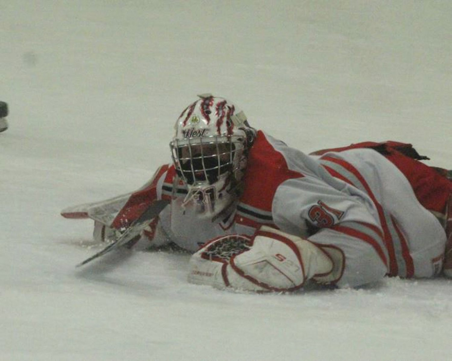 PLAYOFF MATT: Cranston goalie Matt Corrente sprawls out to make a save.