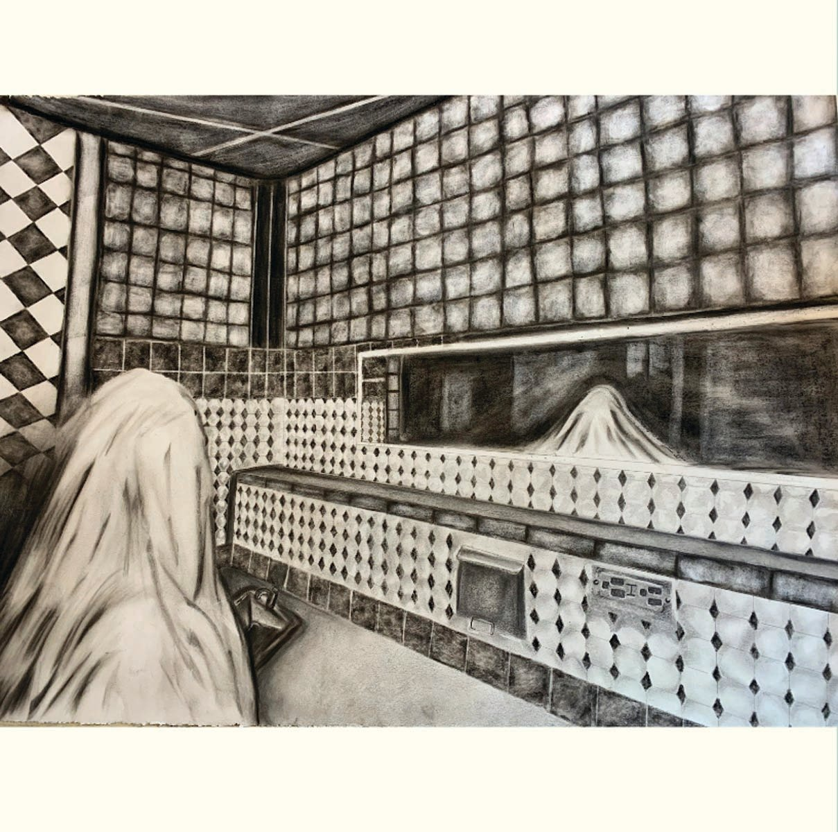 """Ghostly Reflection,"" drawing, Elizabeth Cowart, Cranston West"