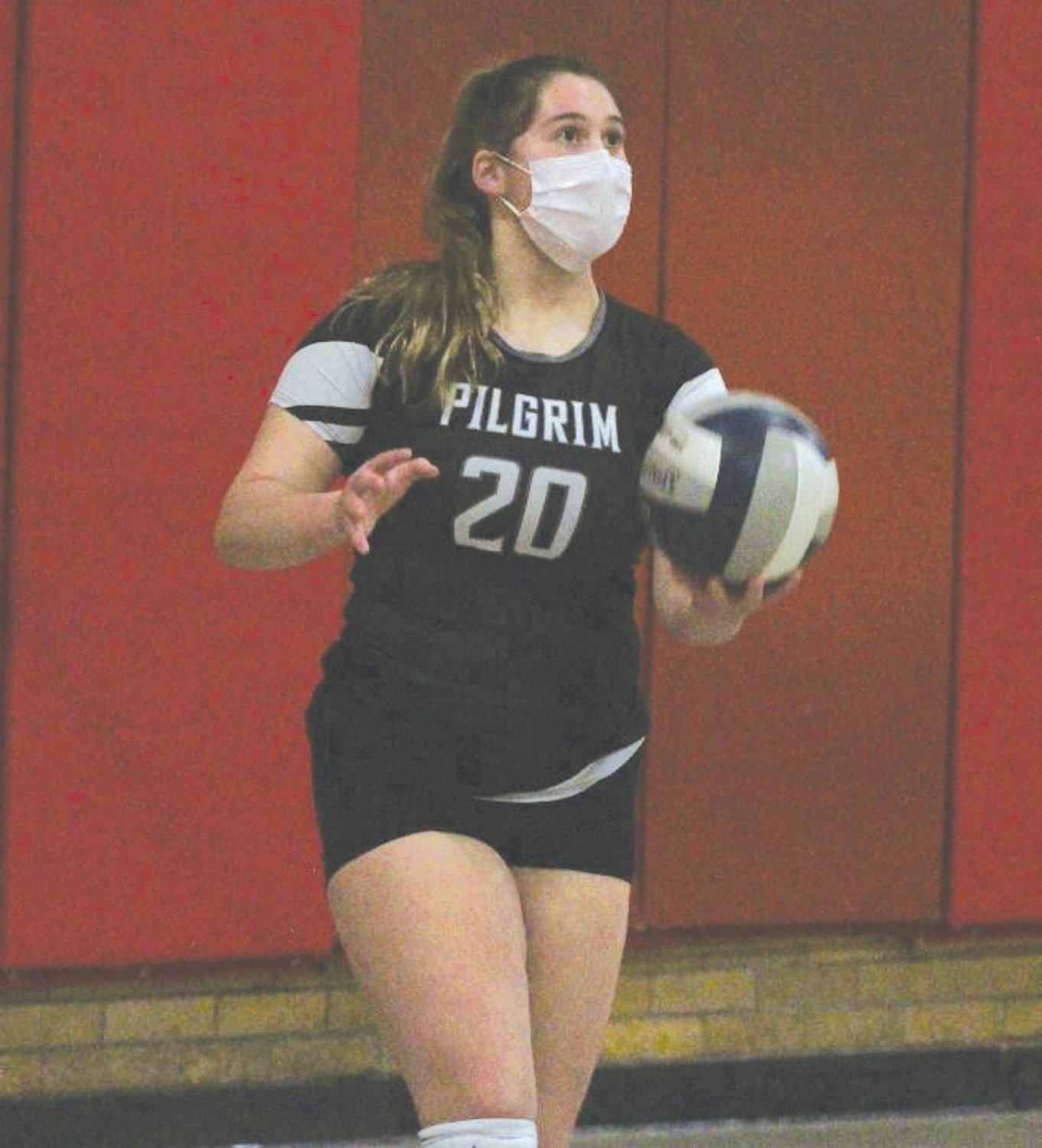 BACK IN THE WIN COLUMN: Pilgrim senior captain Kiley Chaplin gets set to serve against Tolman last week. After dropping